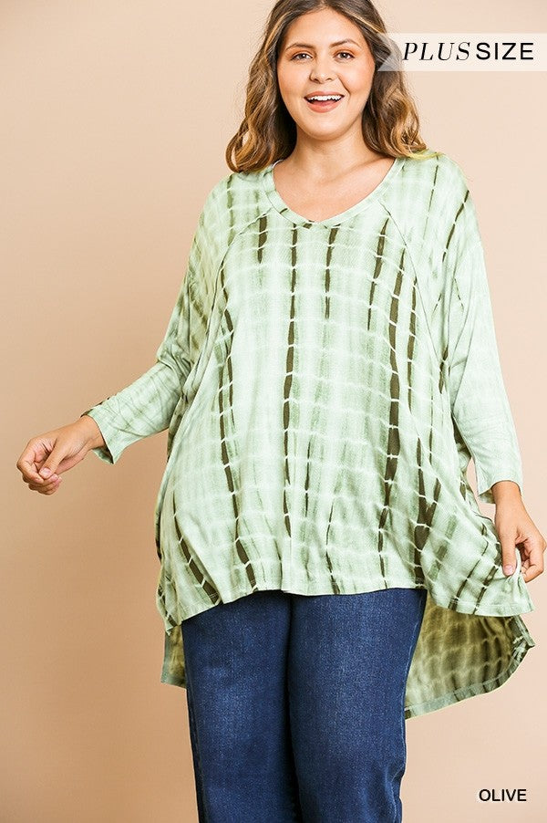 Tye Dye 3/4 Sleeve V-Neck Tunic with High Low Side Slit Hem