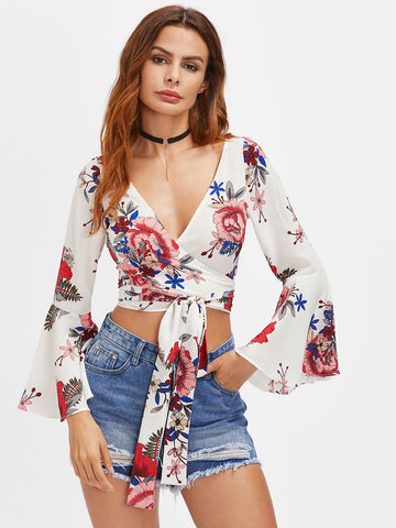 Floral Fluted Sleeve Top