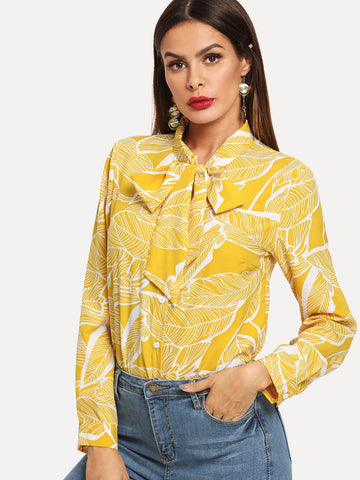 Yellow Leaf Blouse With Bow Tie
