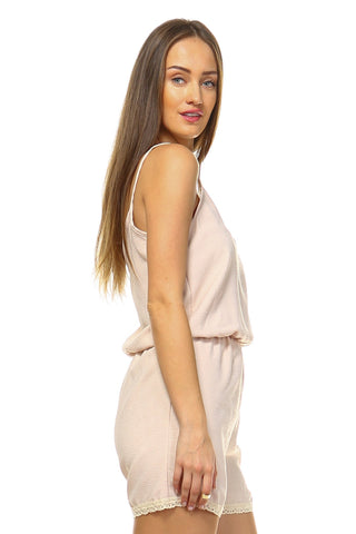 Taupe V-Neck Romper with Embroidered Trim