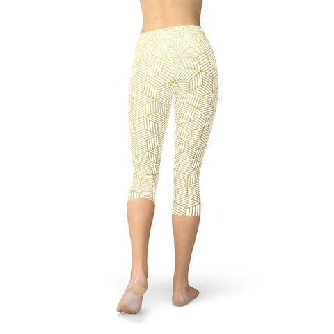 Geometric Cubes White Capri Leggings