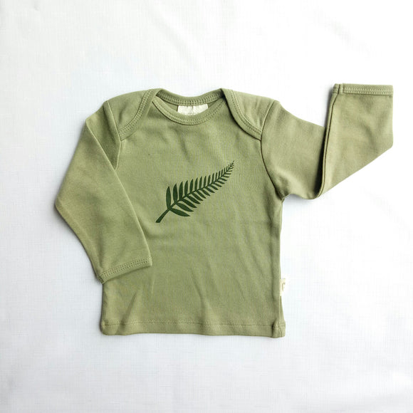 Fern Print Long Sleeved Organic Cotton Top - NZ Baby Box