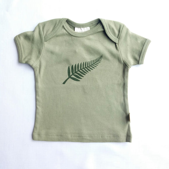 Fern Print Short Sleeved Organic Cotton Top - NZ Baby Box