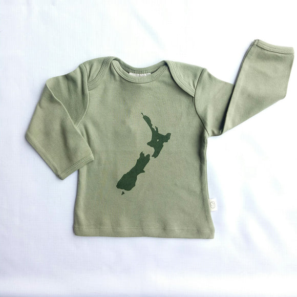 NZ Print Long Sleeved Organic Cotton Top - NZ Baby Box