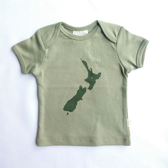 NZ Print Short Sleeved Organic Cotton Top - NZ Baby Box