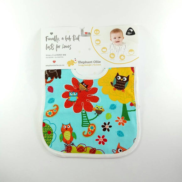 Triple Layered Bib - Owls - NZ Baby Box