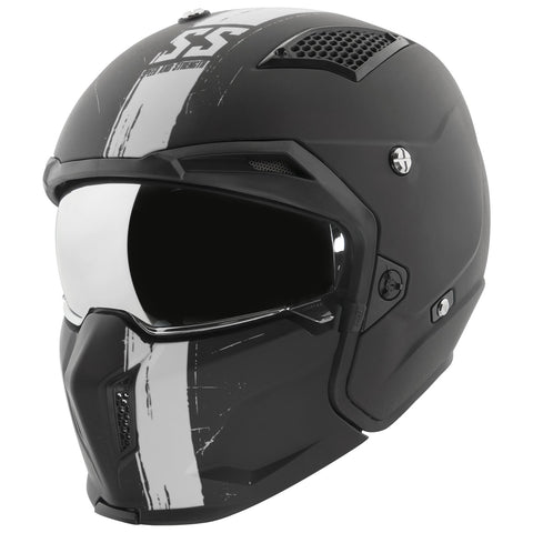 Casco Speed & Strength Ss2400 WHT 3 N 1 Abierto 3/4 Integral