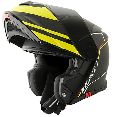 Casco Abatible Modular Joe Rocket RKT 18 Series Alter Ego Negro Mate / Neón Hi-Viz