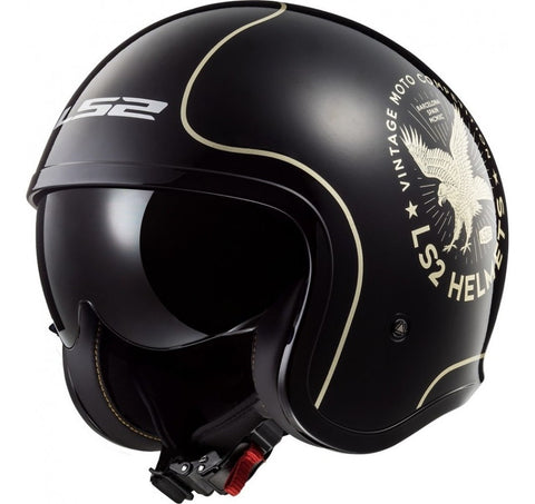 Casco Abierto 3/4 LS2 OF599 Spitfire Flier Negro Brillante