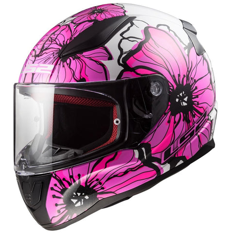 Casco Integral de Mujer LS2 FF353 Rapid Poppies Rosa / Blanco