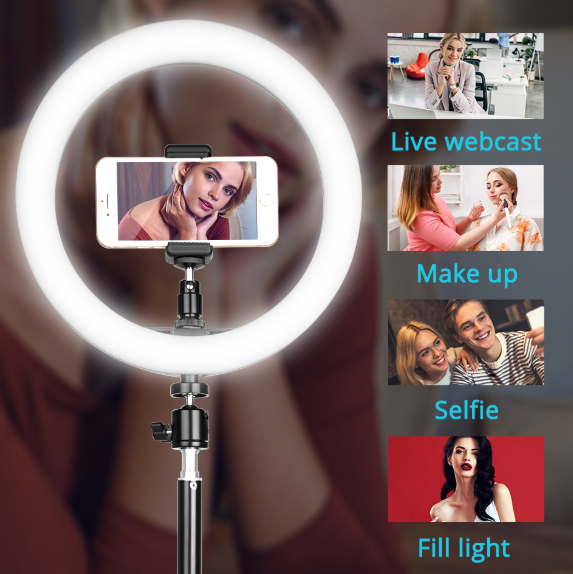 Photographic LED Ring Lamp Adjustable Tripod