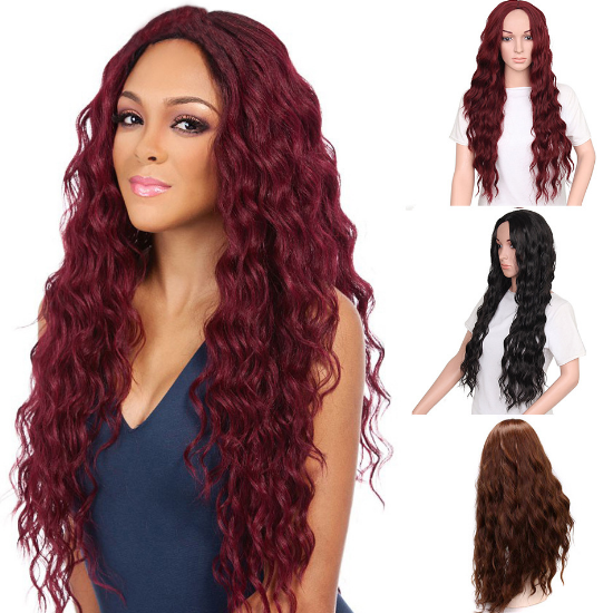 New fashion red brown black wavy wig
