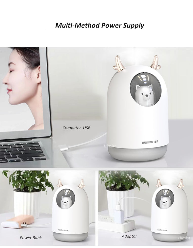 Christmas lovely Reindeer Color LED Lamp USB Humidifier