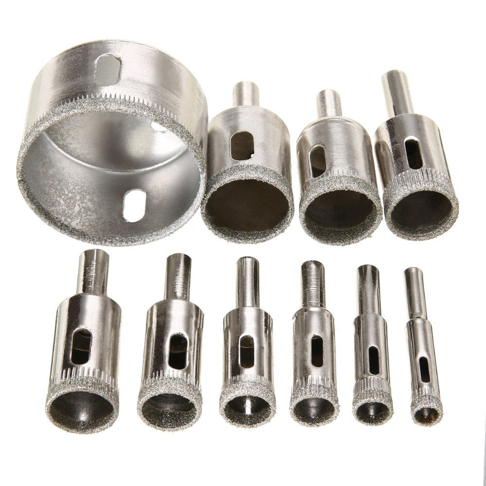 10pcs Diamond Hole Saw Marble Drill Bit Set