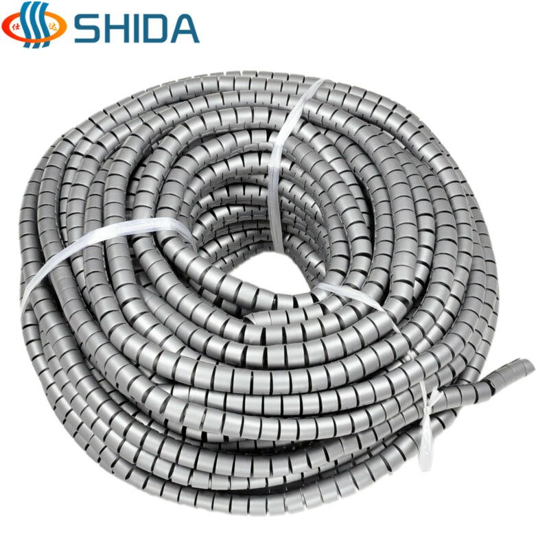28mm Diameter 3M/Lot 3 Colors PE Cable Tidy Spiral Wrap Band Sleeves Tube Banding for Wire Management