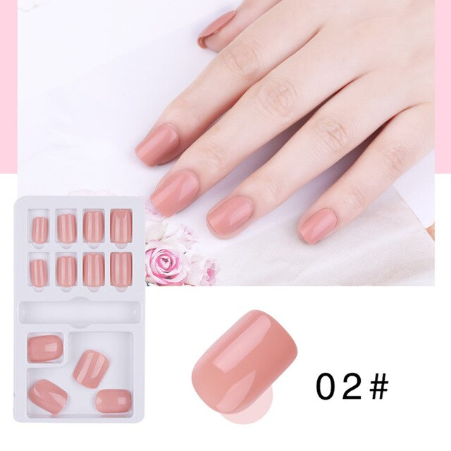 Best 12-piece Fake Nail Patch Detachable Wearable Solid Color Fake Nail Patch QQ99