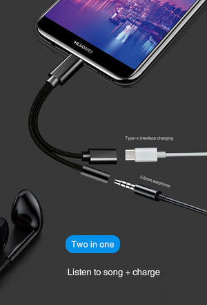 USB Type C to 3.5 Aux Audio Cable