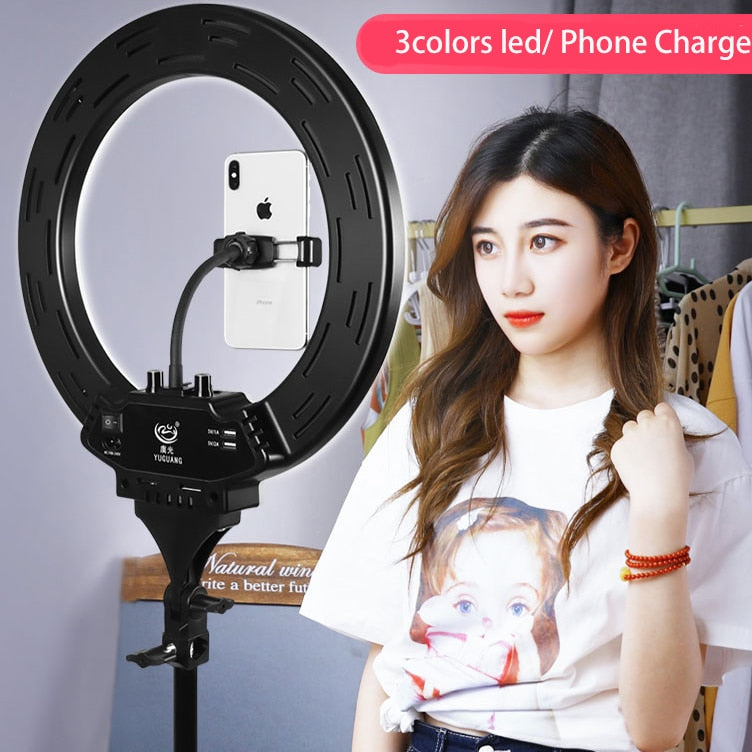 "Photo Studio 14"" 308pcs LED 3Color3200K-5600K Dimmable Photography Phone Video LED Ring Light Lamp With Tripod Stand For Camera"