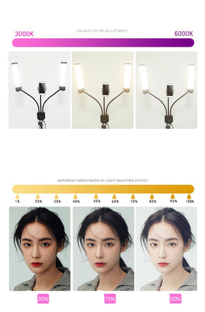 Photo Studio Double Arms Fill Ring light Long LED Strips 3300K-5500K 288PCS LED White and Yellow color For Camera