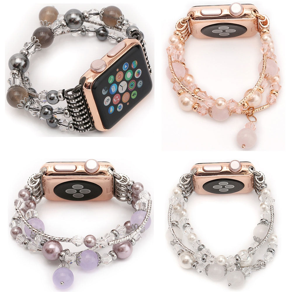 Agate Beads Pearl Bracelet Strap for Apple Watch