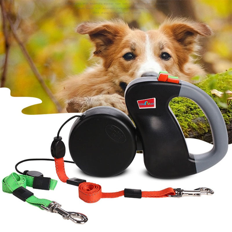 Retractable Double Pet Dog Cat Walking Leash
