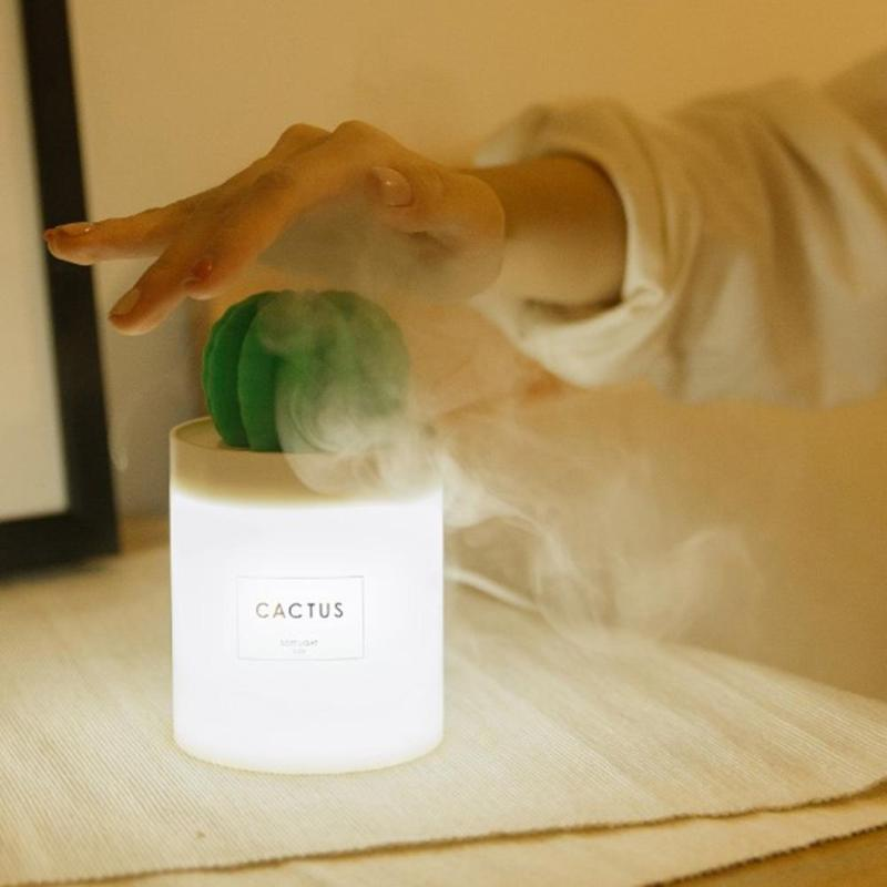 Cactus Air Humidifier With Night Light for Home