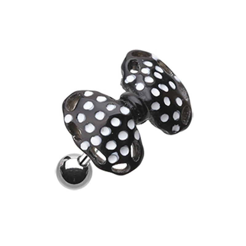 18G Black Cute Bow-Tie Cartilage Tragus Barbell Sold Individually