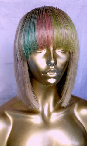 Blonde Bob with Multi-color bangs