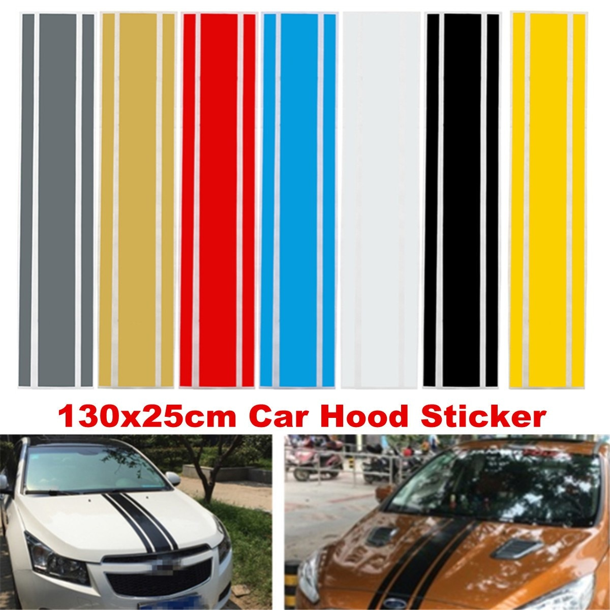 130cm x 25cm Car-Styling Auto SUV Decal Hood Scratched Sticker Engine Cover  Vinyl DIY Decor Stripe