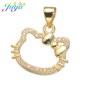 fee45911fdef0 Juya Ali Moda Fashion Jewelry Supplies Micro Pave Zircon Gold/Silver/Rose  Gold Hello Kitty Cat Pendant Necklace For Women Girls