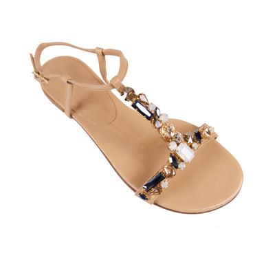 Handmade Blue Jewel Sandals - Bohology