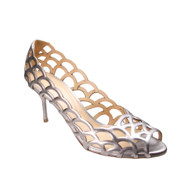 Silver Cutout Open Toe Pumps - Bohology