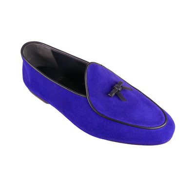 Handmade Electric Blue Suede Loafers - Bohology