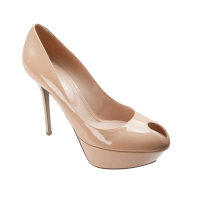 Nude Peep-Toe Pumps - Bohology