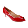 Patent Red Open Toe Pumps - Bohology