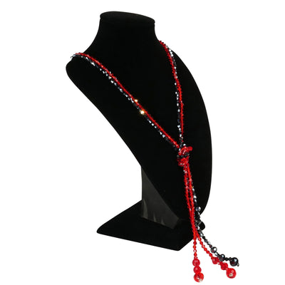 Red Navy Double Crystals Necklace