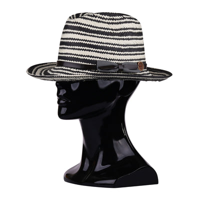 Striped Black and White Panama Hat
