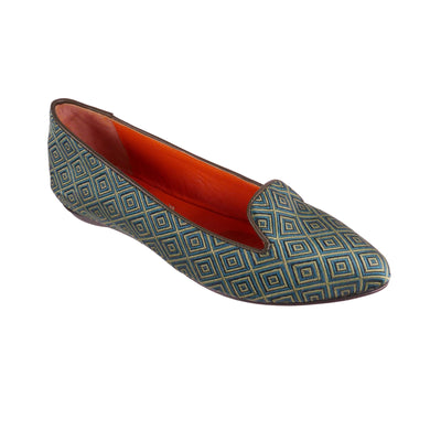 Green Jacquard Handmade Loafers