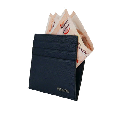 'Saffiano' Double Cards Holder Blue Black