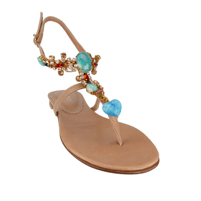 Handmade Turquoise Nude Sandals