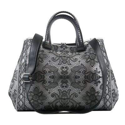 3D Black Lace Large Rubber Bag - Bohology