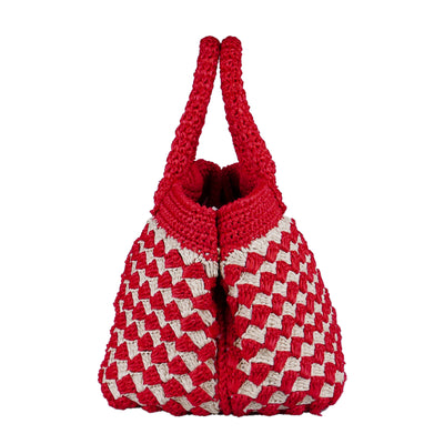 Handmade Red Raffia Tote - Bohology