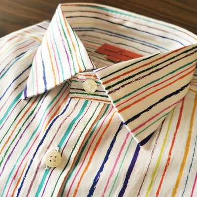 Printed Multicolor Striped Shirt (Size 17/ 43)