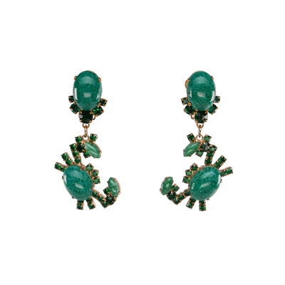 Clip On Capri Green Crab Earrings