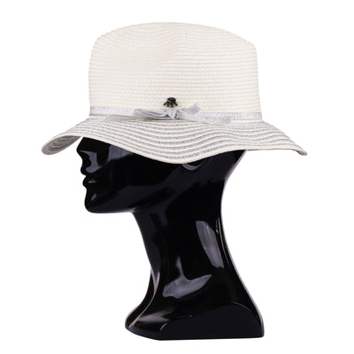 Foldable White Silver Striped Hat