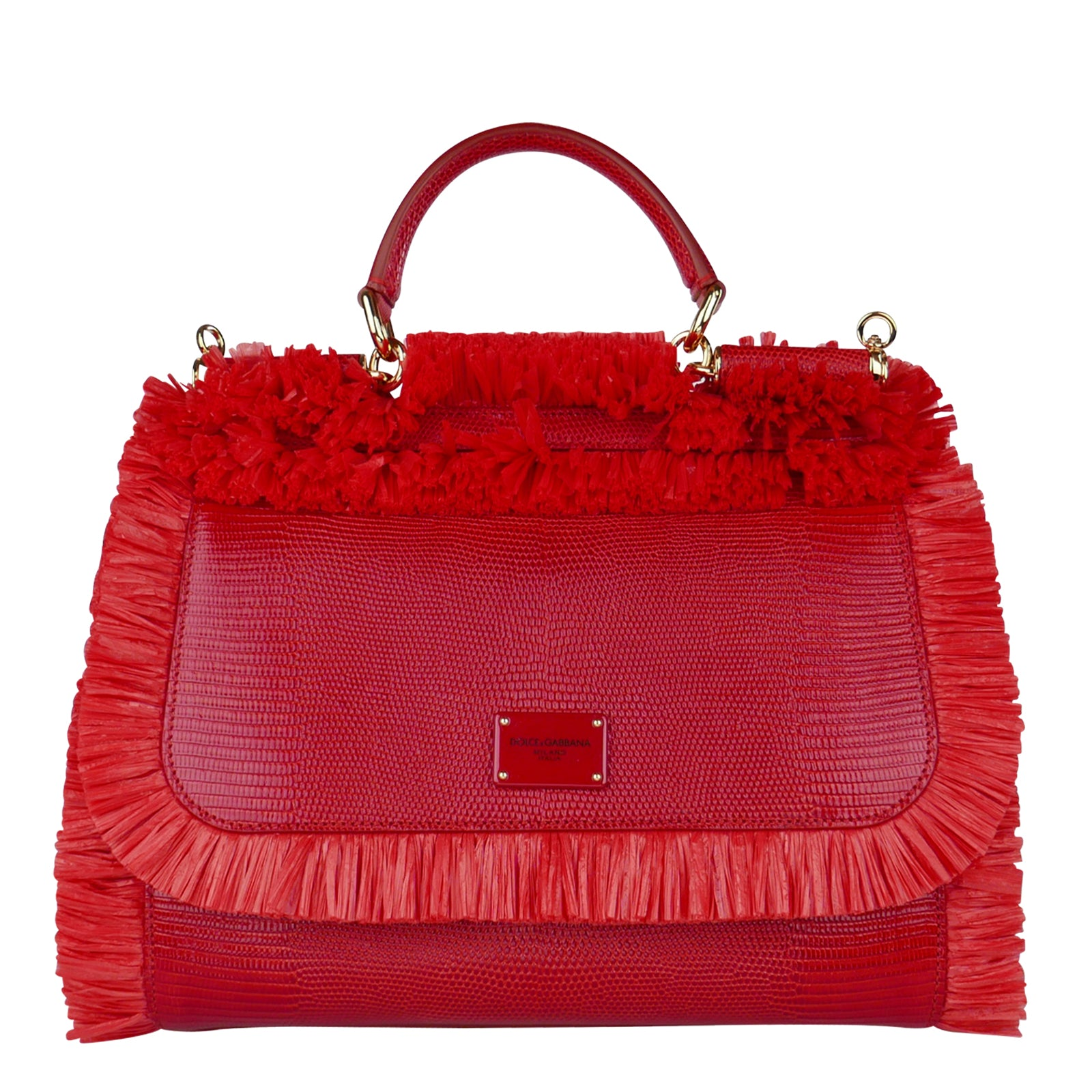 4d0dbd33e491 Buy DOLCE   GABBANA Red Fringe Raffia  Miss Sicily  Bag