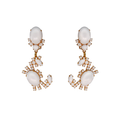 Clip On Capri White Crab Earrings