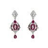 Rhodium Dark Rose Drop Earrings