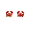 Clip On Capri Red Crab Mini Earrings