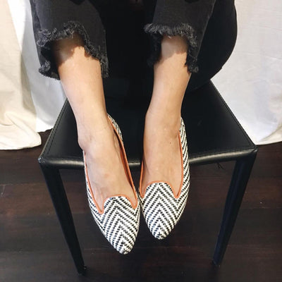 Black And White Handmade Loafers